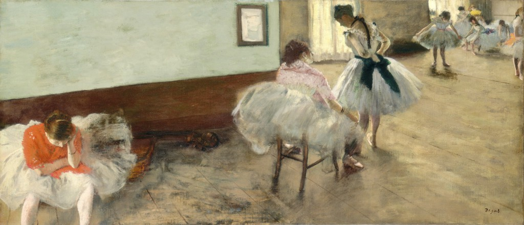 Impressionist painting by Degas showing young ballerinas training.
